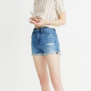 Madewell Hi Rise Distressed Cuffed Cut Off Shorts